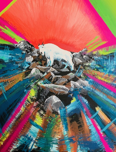 mountain goat acrylic painting