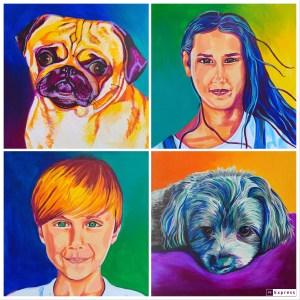 4 piece family portrait painting set
