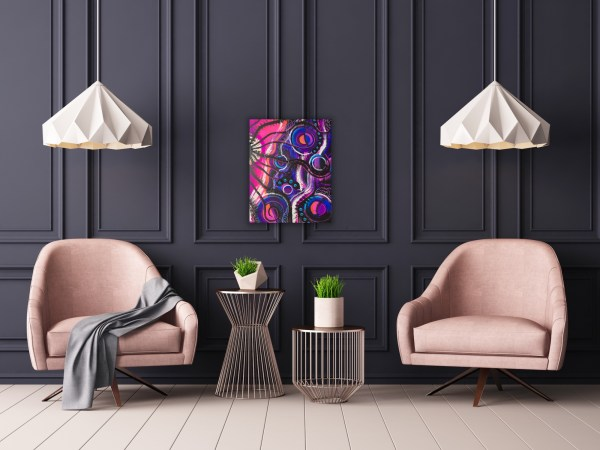 """Preview of 16"""" x 20"""" abstract painting on dark gray wall"""