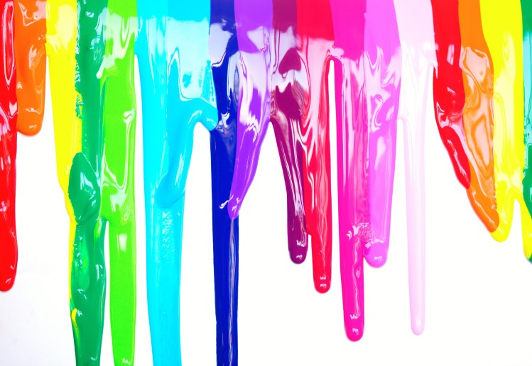 Dripping rainbow paint colors