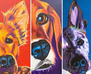 3 piece pet portrait paintings
