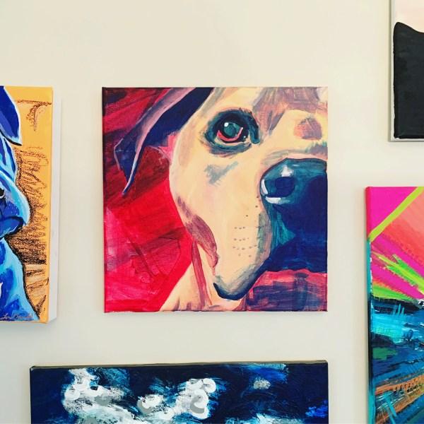 dog portrait on gallery wall