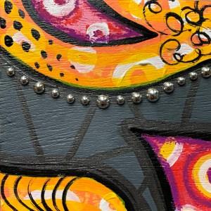 colorful wood block wall art