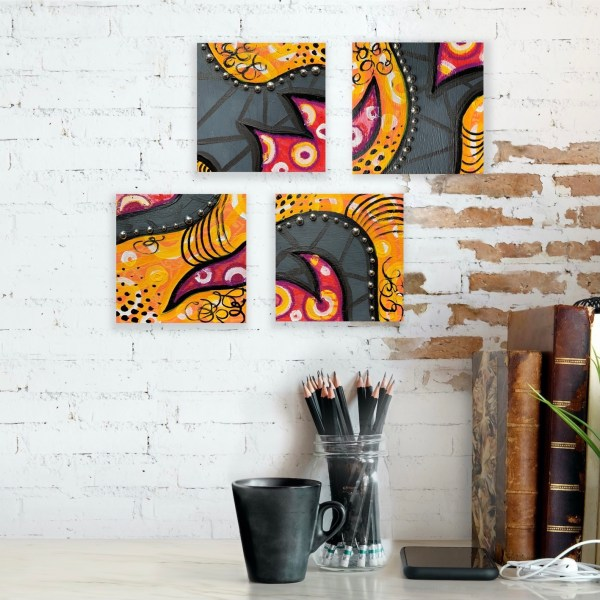colorful wood block wall art collage