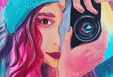 Portrait painting of daughter with camera