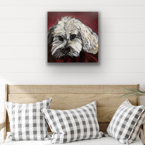 dog portrait above bench