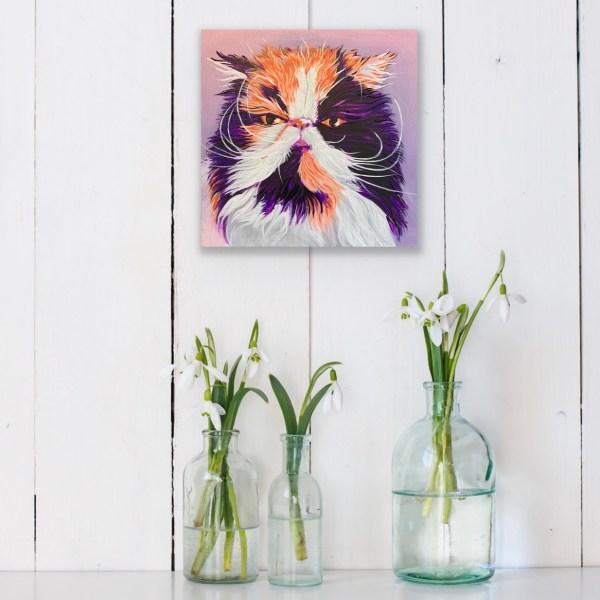 cat portrait with vases