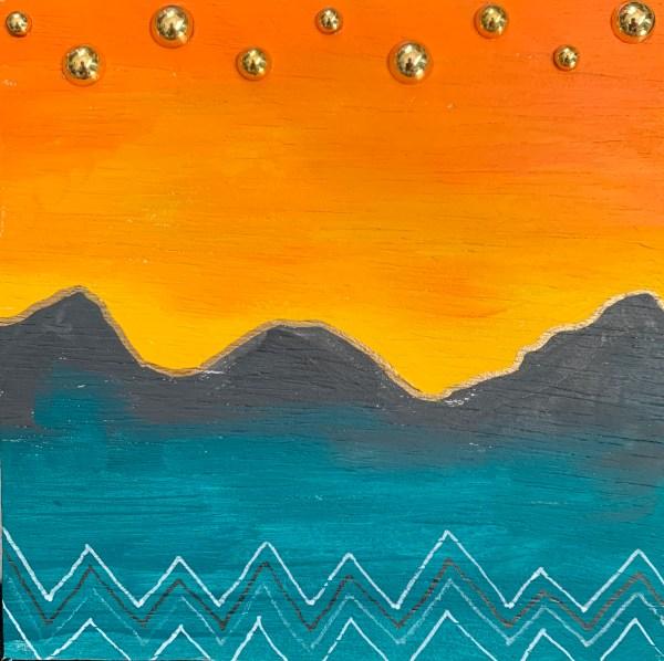 mountain sunset wood block wall art
