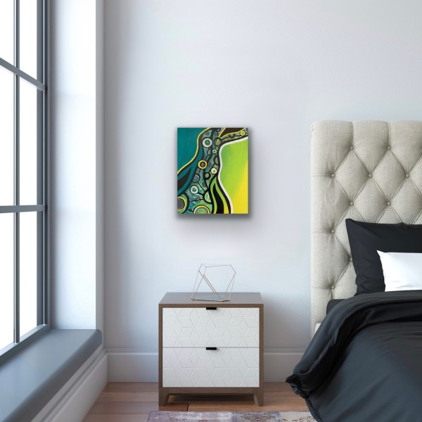 abstract wood block wall art in bedroom
