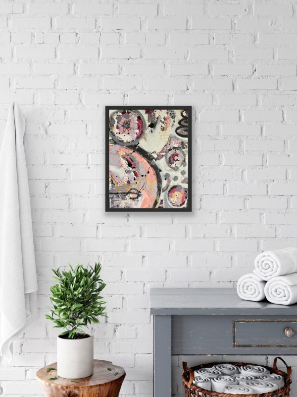 Abstract mixed media art hung in spa room