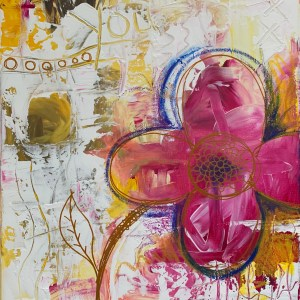abstract floral painting closeup