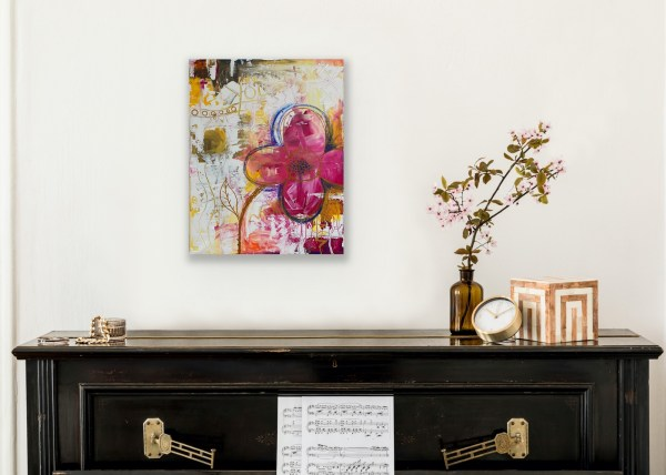 abstract floral painting above piano