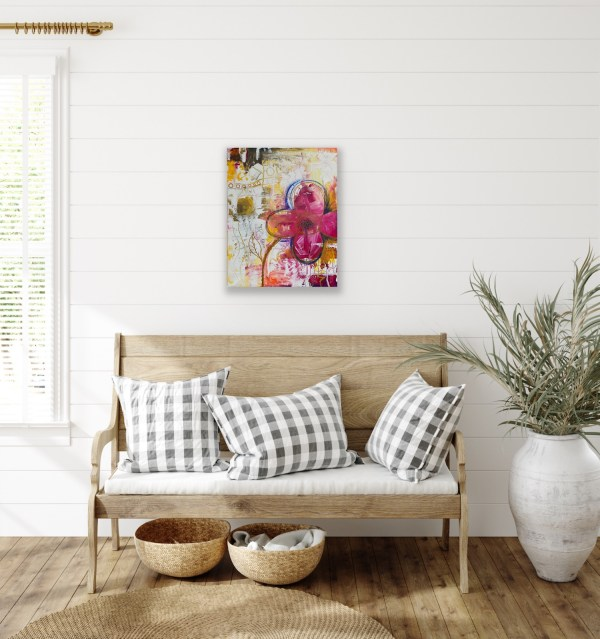 abstract floral painting for foyer decor