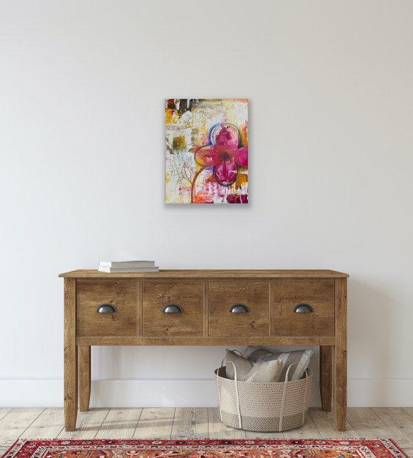 abstract floral art above desk