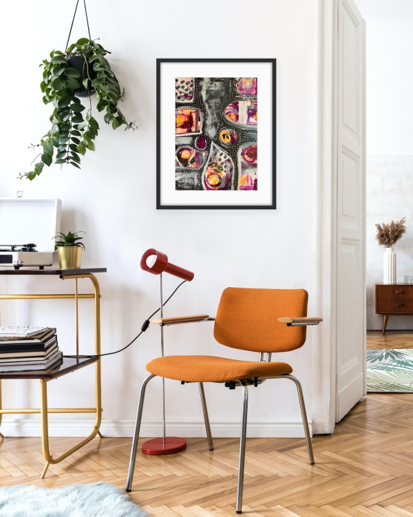 colorful abstract painting in office setting