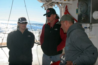 Aboard the Point Sur; left to right: Karen Crow, Steve Morey (me), and Giacomo Bernardi