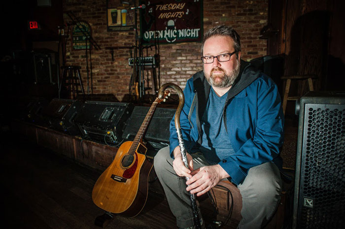 "MusicNL's ""Male Artist of the Year"" plays through the joint pain and swelling of psoriatic arthritis. (Photo by Joel Upshall for The Overcast)."