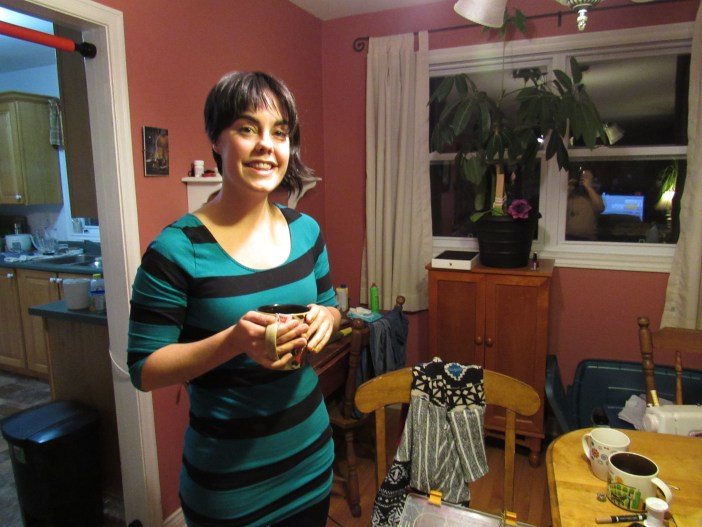 Jenn breaking for a tea