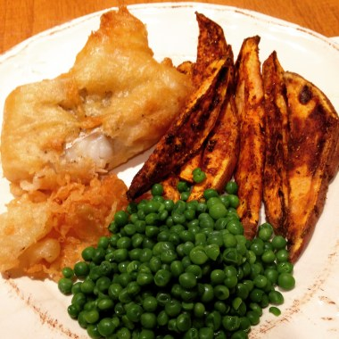 Ginger Beer Battered Cod and sweet potato fries
