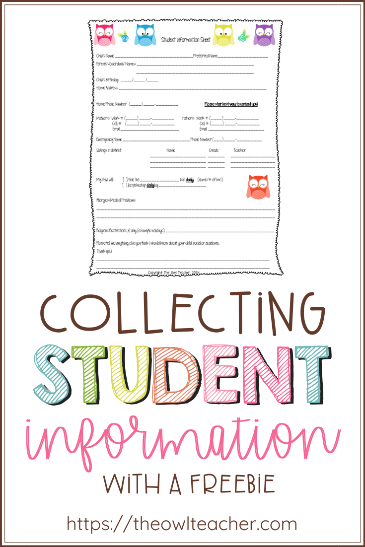 Collecting Student Information: A Helpful FREEBIE!