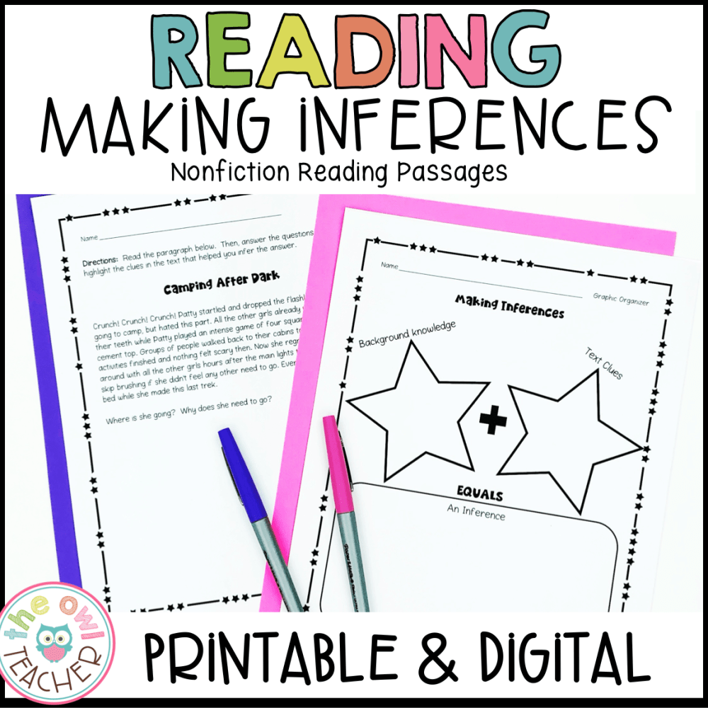medium resolution of Inference Reading Practice Printables \u0026 Digital (Google) - The Owl Teacher