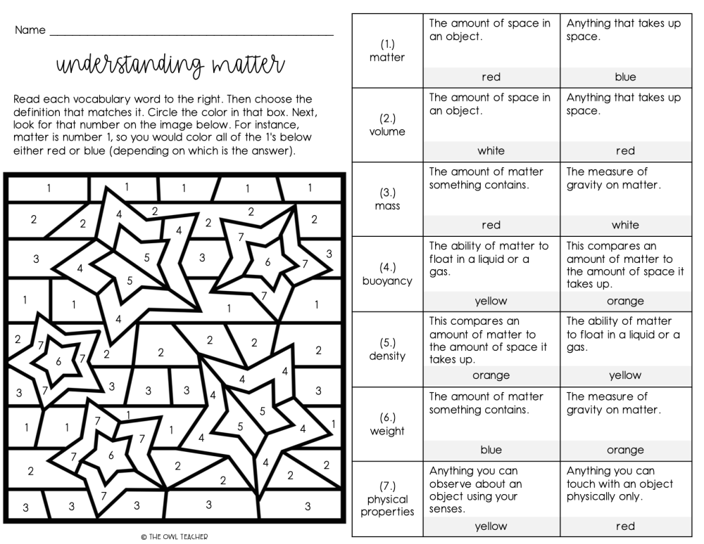 medium resolution of Matter Vocabulary Games and Worksheets Practice - The Owl Teacher