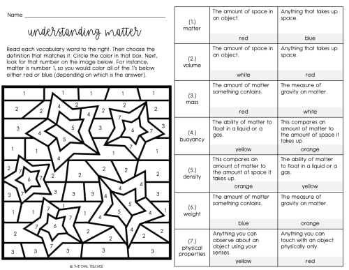 small resolution of Matter Vocabulary Games and Worksheets Practice - The Owl Teacher