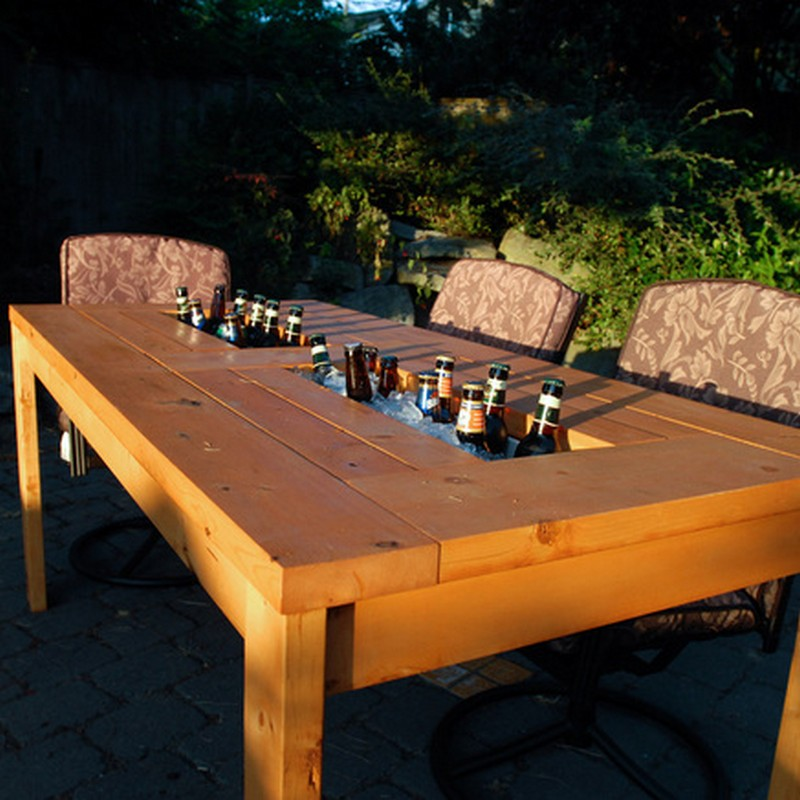 DIY Patio Table With Built In BeerWine Coolers The