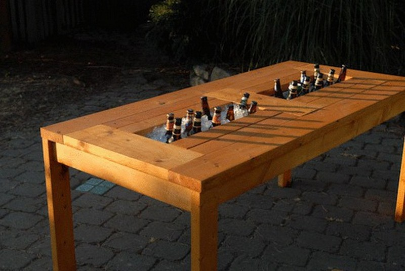 DIY Patio Table with Builtin BeerWine Coolers  The