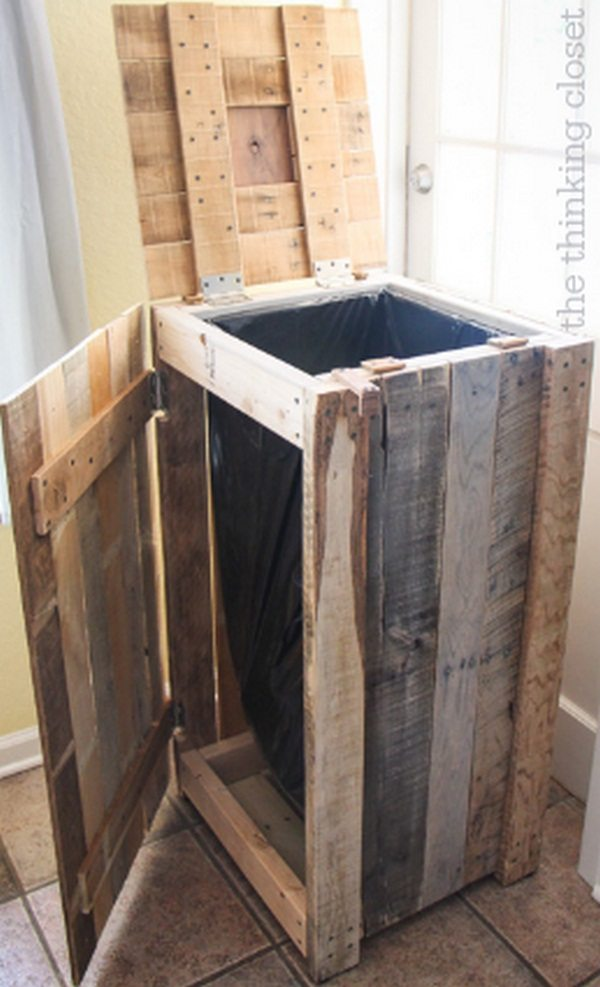 Recycled Pallets Turned Into A Rustic Recycle Bin  The