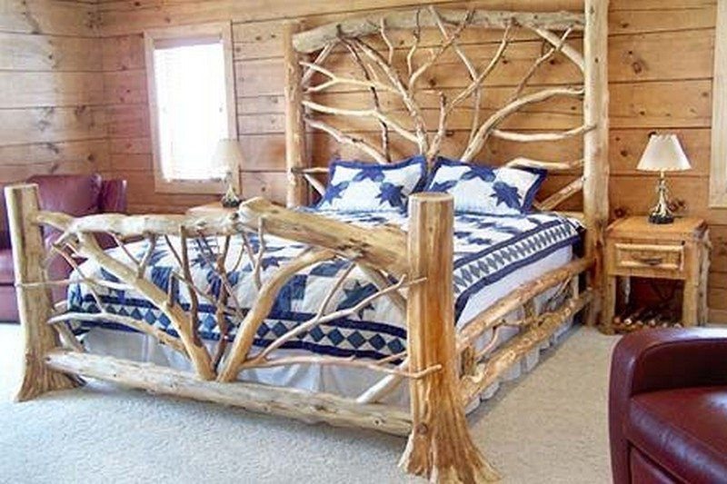 Warm and inviting rustic log beds  The OwnerBuilder Network