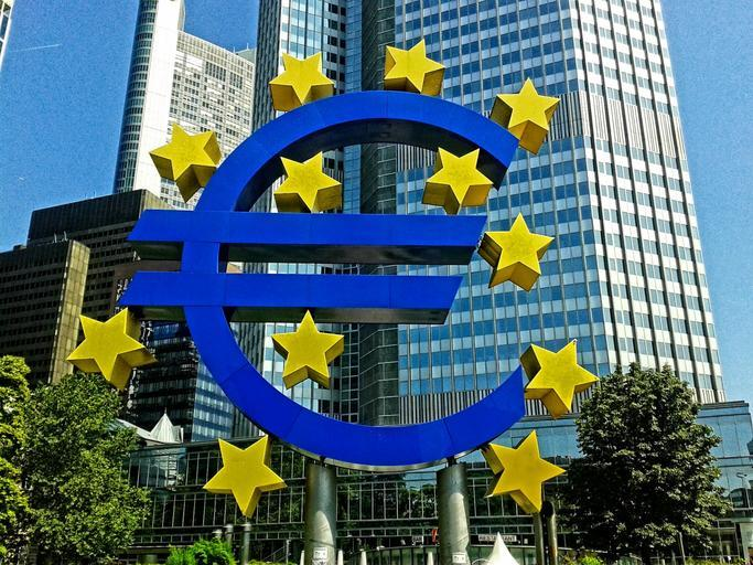 The European Central Bank. The Bank's symbol, a blue euro sign with stars scattered around it, is prominent.