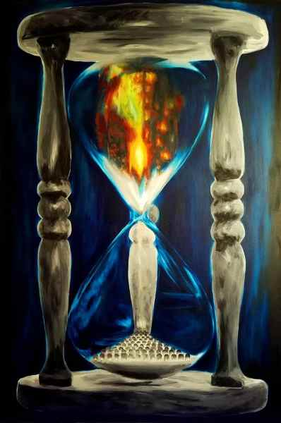 A painting of an hourglass. An explosion in the top half becomes sand, which drains into a field of graves at the bottom.