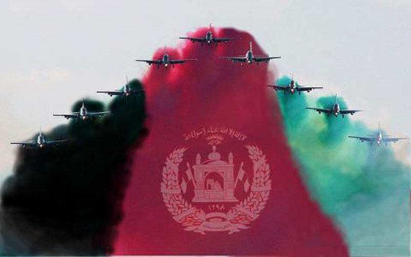 A cadre of planes flies in a V formation. Smoke trails behind them have been edited into the Afghan flag.