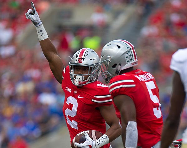 Marshon Lattimore celebrates an interception.
