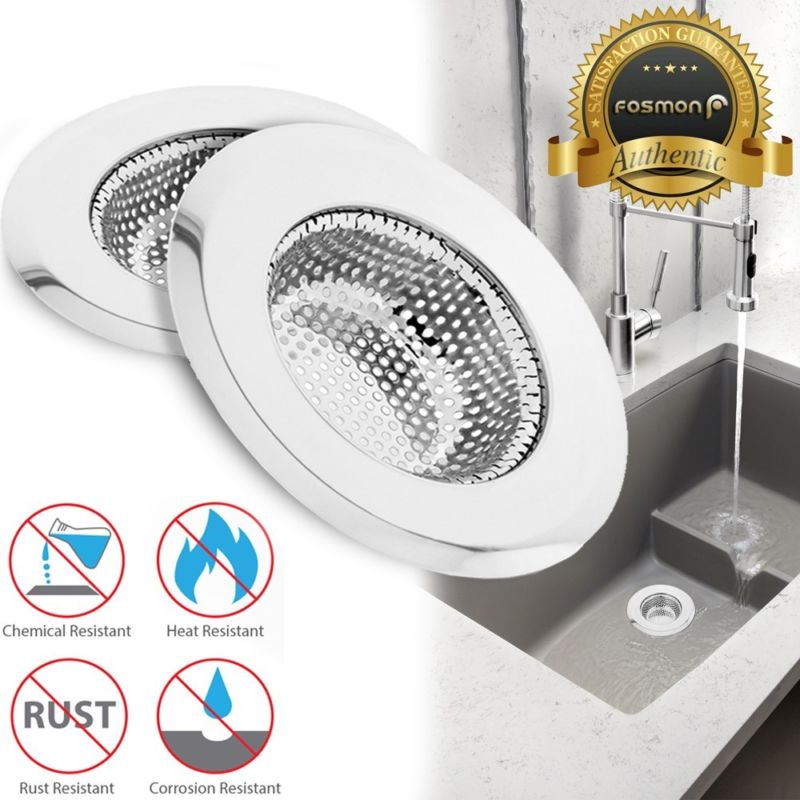 2x Stainless Steel Kitchen Sink Drain Strainer Mesh Basket Stopper ...