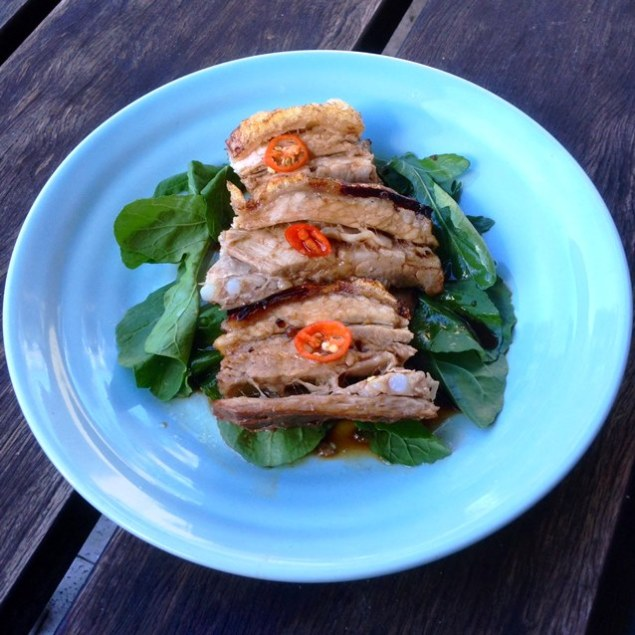 Sticky Soy And Honey Roasted Pork Belly With Crisp Crackle With Wilted Greens