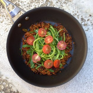 Oven Baked Sweet Potato And Carrot Rosti With Rocket, Cucumber And Tomato