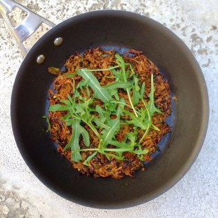 Oven Baked Sweet Potato And Carrot Rosti With Rocket