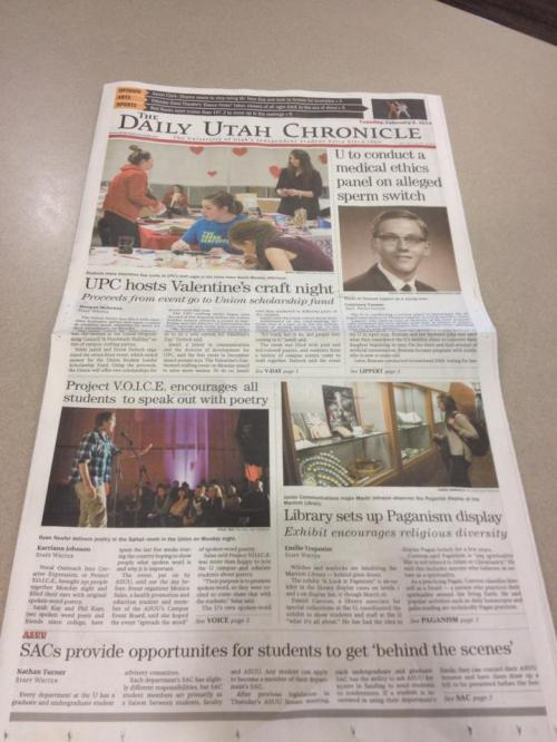 Daily Utah Chronicle February 3, 2014 Article Library Sets up Paganism Display