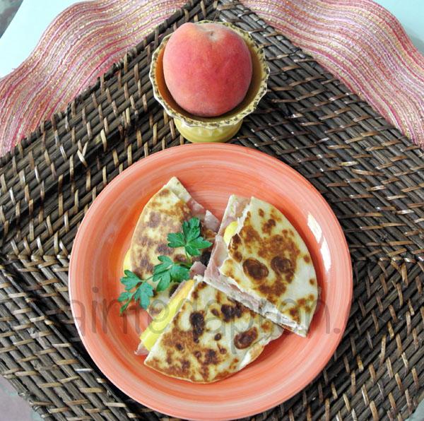 peach prosciutto quesadilla thepaintedapron.com