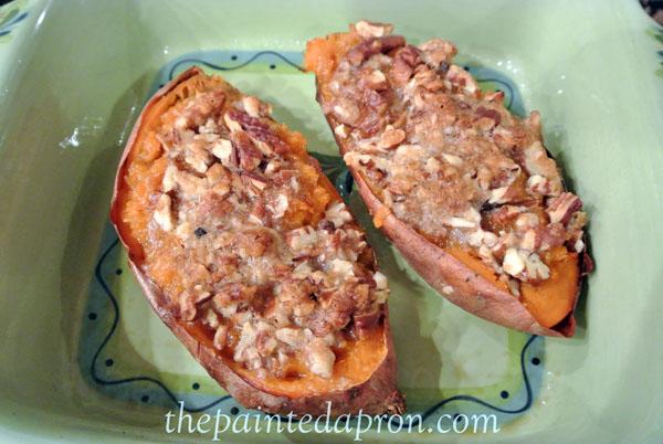 twice baked sweet potatoes thepaintedapron.com
