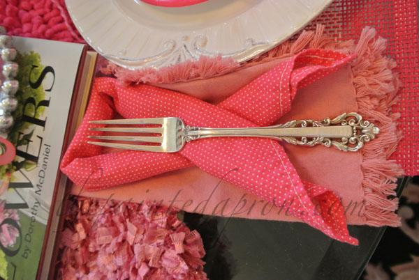 pink ribbon napkin thepaintedapron.com