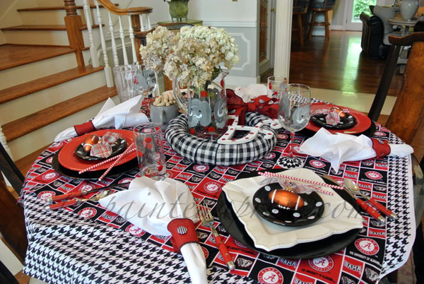 red, white and black table thepaintedapron.com