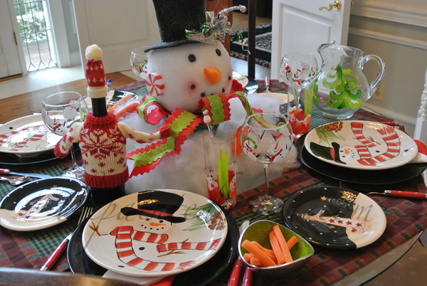 snowman table 3 thepaintedapron.com