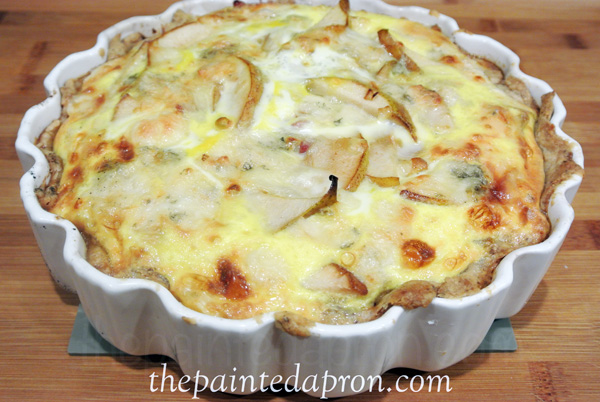 pear and bleu cheese quiche thepaintedapron.com