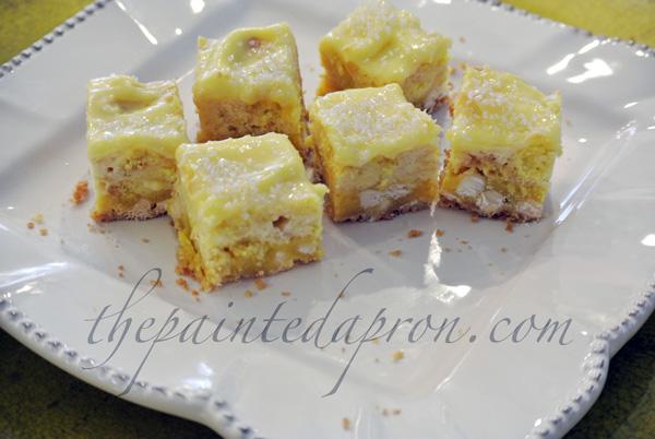 lemon cheesecake squares thepaintedapron.com
