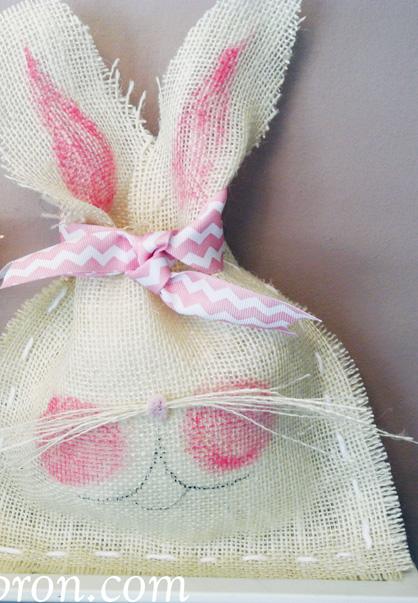 pink cheeked burlap bunny thepaintedapron.com