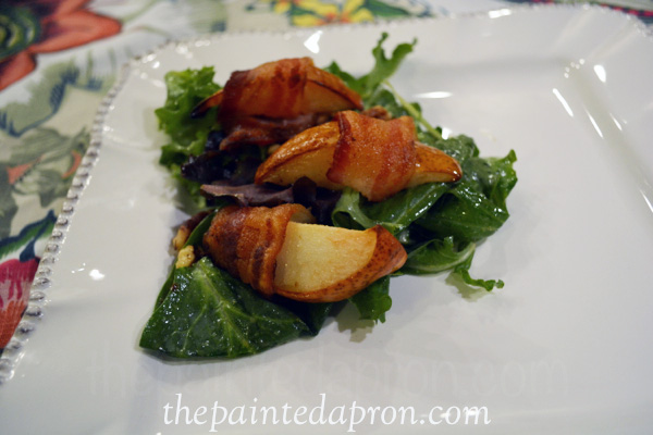 bacon wrapped pear saladthepaintedapron.com