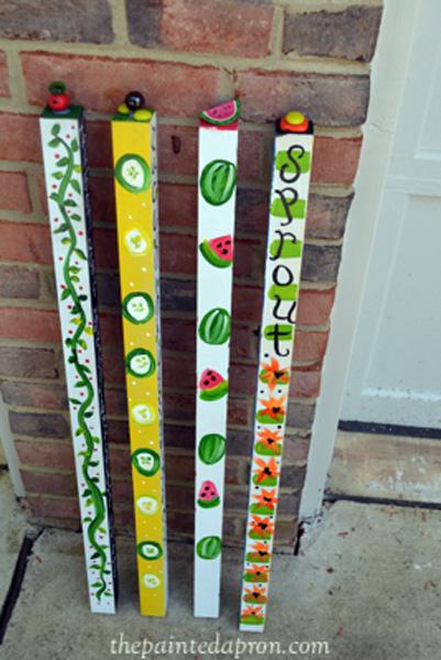 painted garden poles thepaintedapron.com
